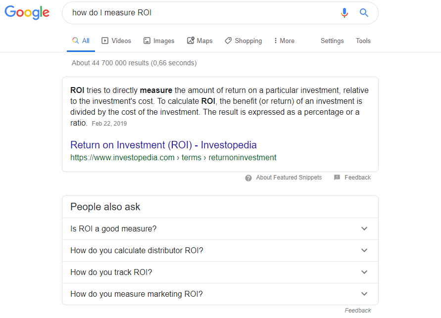 ROI Featured Snippet